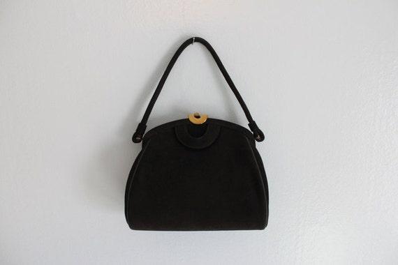 Vintage Bag / 1940s Black Suede Bag / 40s Purse