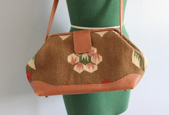 Vintage Bag / Kilim Shoulder Bag / 80s Kilim Satchel Bag