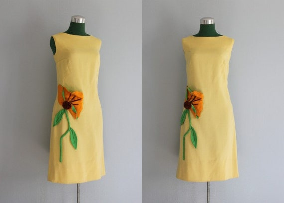 Vintage Dress / 1960s Sunflower Dress / I. Magnin / 60s Linen Applique Dress