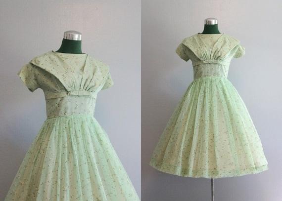 Vintage Dress / 1950s Party Dress / 50s Chiffon Party Dress