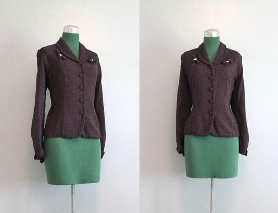 Vintage Jacket / 1950s Tailored Jacket / 50s Rhinestones and Bows Jacket