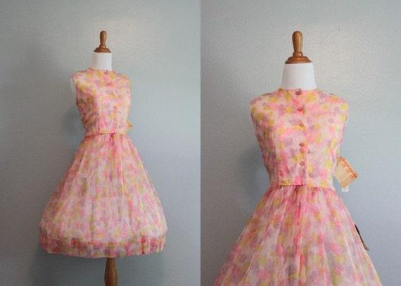 1960s Party Dress / Unworn with Tags / Sheer Chiffon Dress / Vintage Dress / 60s Dress