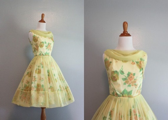 60s Party Dress / 1960s Chiffon Dress / 60s Yellow Floral Party Dress