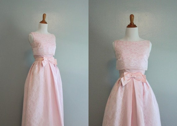 1960s Formal / 60s Party Dress / Pink Lace Dress / Vintage 60s Dress
