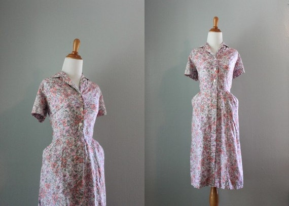Vintage 50s Dress / 1950s Dress / 50s Pink and Gray Cotton Day Dress