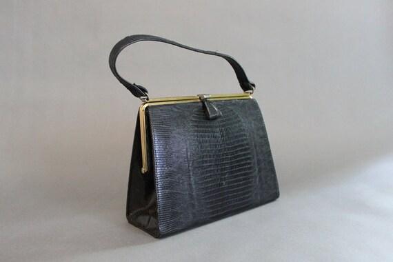 50s Bag / 1950s Black Reptile Bag / Vintage 50s Black Leather Bag