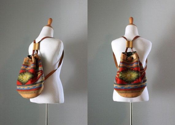ON RESERVE...Vintage Southwest Bag / 1980s Wool Southwest Backpack / 80s Drawstring Bag