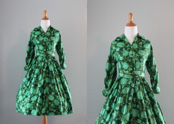50s Dress / 1950s Emerald Rose Dress / Vintage Dress