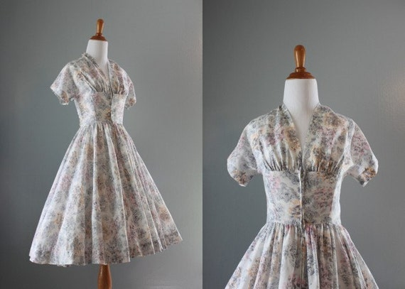 50s Party Dress / Vintage 50s Dress / 1950s Sheer Summer Dress