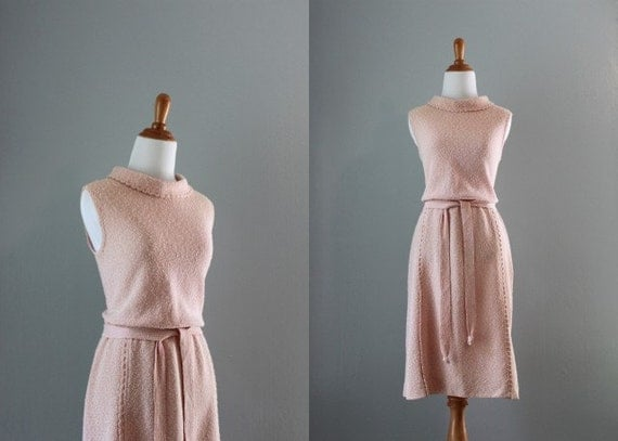 60s Dress / 1960s Knit Wiggle Dress / Vintage 60s Pink Sheath Dress