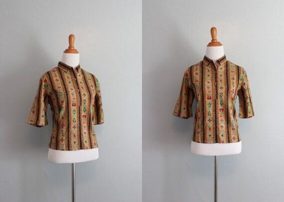 50s Blouse / Vintage 1950s Novelty Print Blouse / Unworn / 50s Cotton Blouse