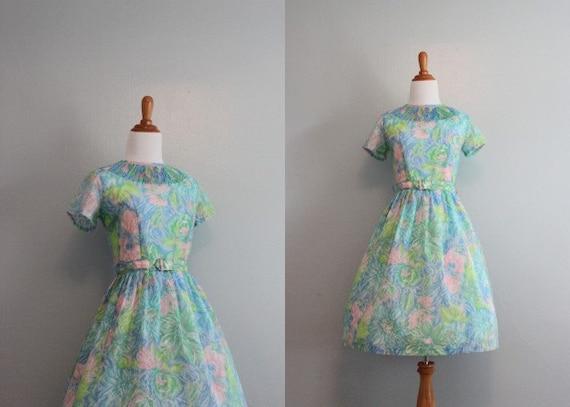 Vintage 60s Dress / 1960s Sheer Dress / 60s Pastel Day Dress