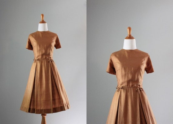 60s Dress / 1960s Silk Dress / Bronze Bows Silk Dress / Vintage Dress