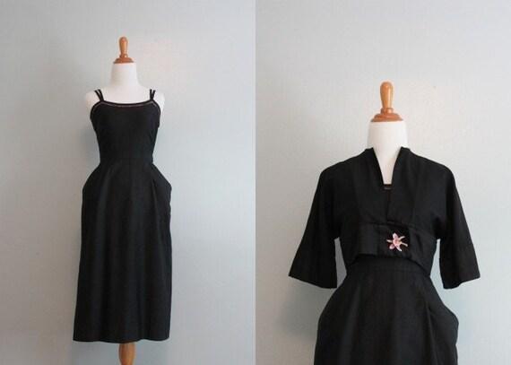 50s Dress / 1950s Bombshell Wiggle Dress / 50s Dress and Jacket Set