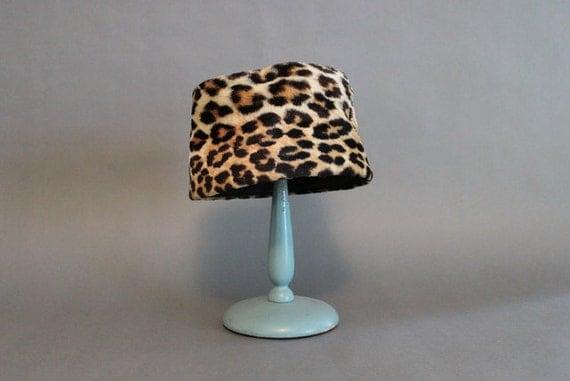 Reserved...Leopard Print Hat / 1960s Hat / Vintage Leopard Print Hat
