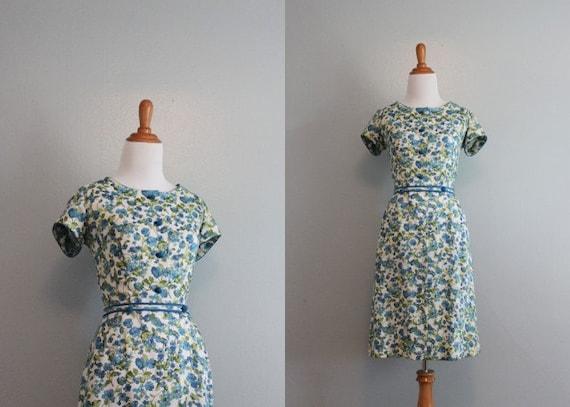 60s Dress / Vintage Linen Dress / 50s 60s White Floral Dress
