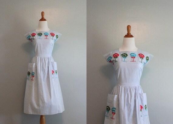 50s Wrap Dress / Vintage 1950s Cotton Day Dress / Unworn with Tags / 50s Dress
