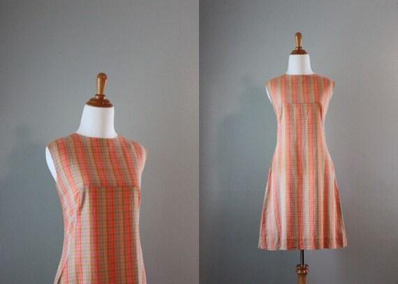 Vintage 60s Dress / 1960s Shift Dress / 60s Soft Cotton Day Dress