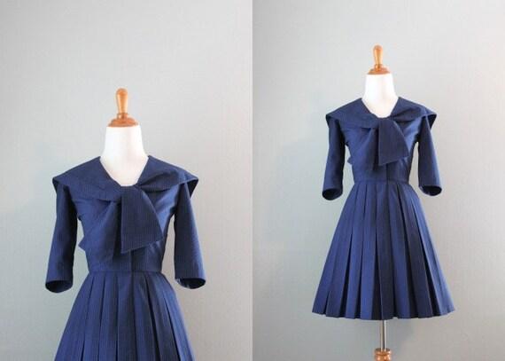 50s Dress / Vintage 1950s Sailor Dress / Nautical 50s Dress