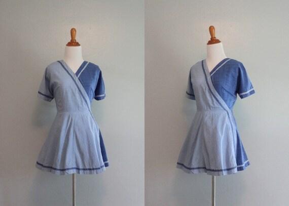 1940s Playsuit / Vintage 40s Cover Up / Wrap Dress