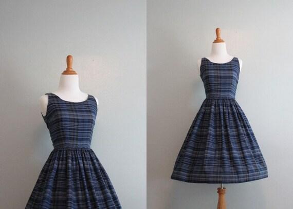 Vintage 50s Dress / 1950s Sundress / 50s Navy Cotton Dress