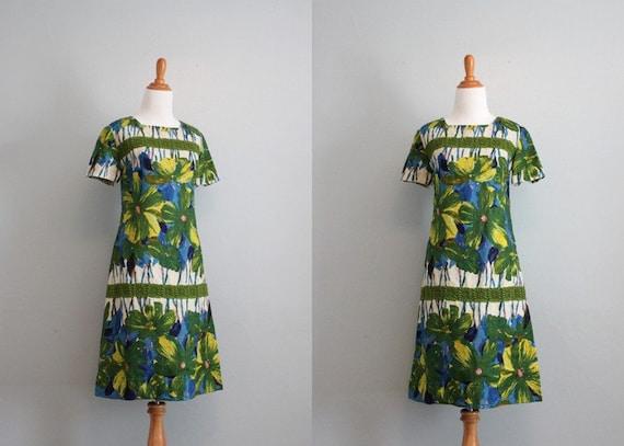 Vintage 60s Dress / 1960s Linen and Lace Dress