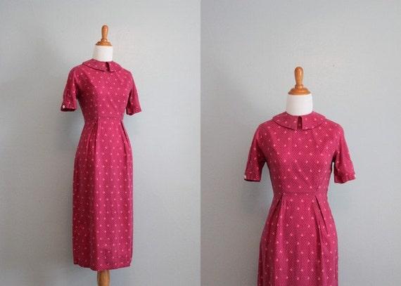 Reserved...Vintage 1930s Dress / 30s 40s Cotton Bombshell Dress / Wiggle Dress