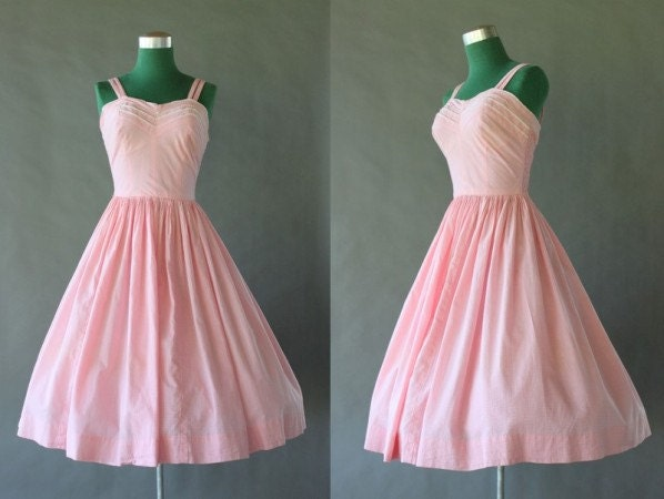 1950s Sundress / Smocked Pink Cotton Full Skirt 50s by HolliePoint