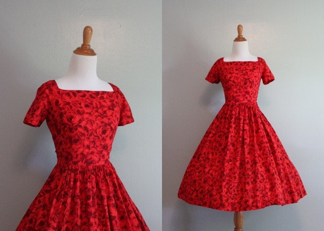 50s Dress / Vintage Dress / 1950s Rose Red Dress by HolliePoint