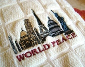 Dish towel with message of World Peace