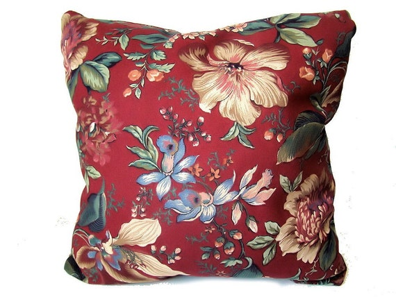 Burgundy Floral Throw Pillows : Indoor Outdoor throw pillow burgundy wine red floral