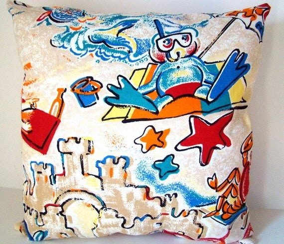 Beach Scene Throw Pillows : Items similar to Throw pillow, beach scene, fun in the sand on Etsy