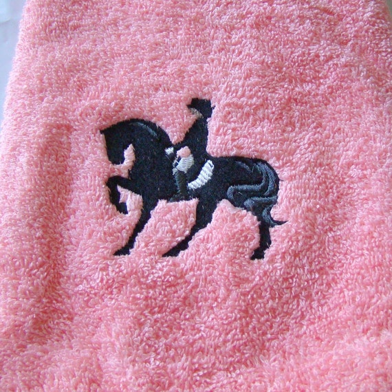 Pink towel with black horse dressage embroidered