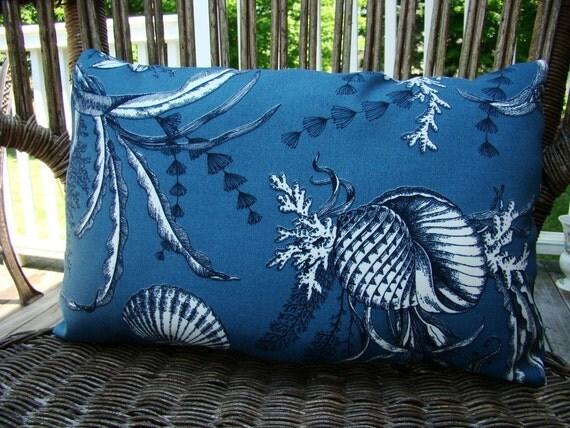 Outdoor pillow  Lumbar - Blue and White Nautical Underwater Sea life