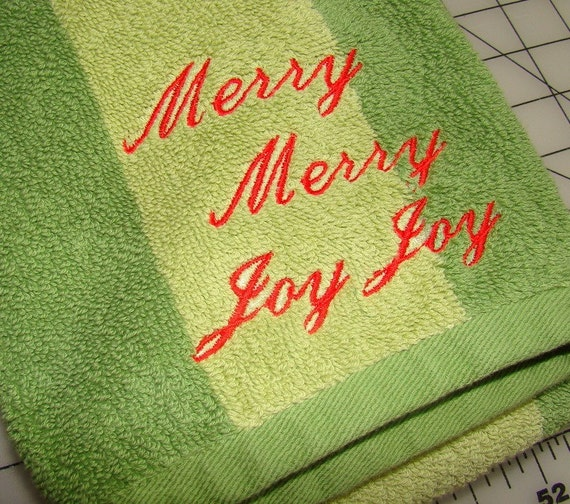 Christmas Hand Towel with Merry Merry Joy Joy