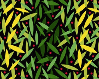 Jane Sassaman Early Birds Leaf Dance Lime fabric 1 yard