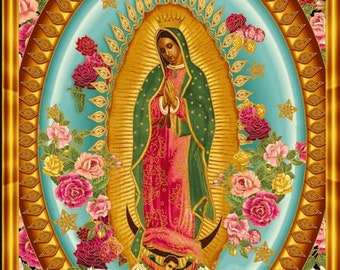 Virgin Mary Our Lady of Guadalupe Kaufman Fabric Panel