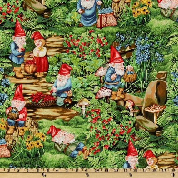 Very Berry Gnomes Michael Miller Fabric 1 yard