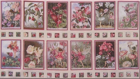 FLOWER FAIRY Cicely Mary Barker Blossom Squares Panel Fabric