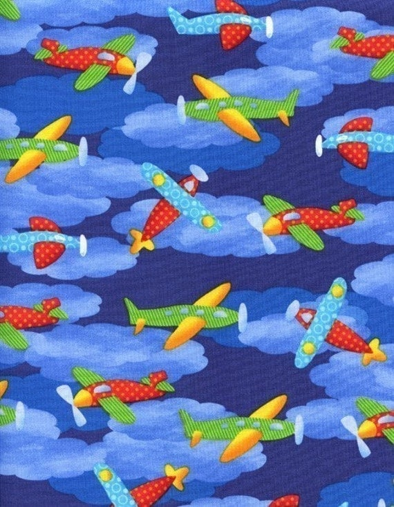 Airplanes flying through blue sky fabric 1 yard last one for Childrens airplane fabric