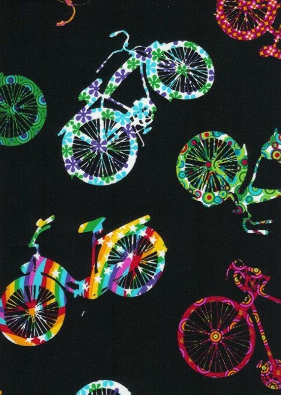 Flower Bikes on Black Timeless Treasures Fabric 2 yards Reserved for dlg630