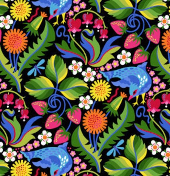 Jane Sassaman Early Birds Strawberry Serenade Blue fabric 1 yard