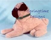 """PDF Pug SEWING PATTERN 12"""" long Puppy Dog Stuffed Animal Toy Plushie Artist Bear Friend"""