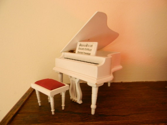 Miniature All White Baby Grand Piano with bench