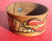 Winged Heart Tooled Leather Cuff Bracelet