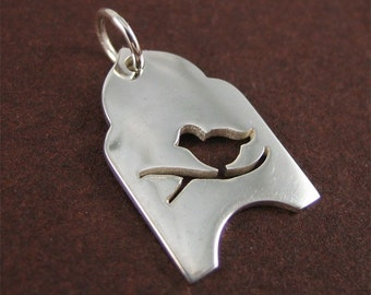 Sterling Silver Bird Tag Charm