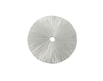 2 pcs --- 16mm Brushed Sterling Silver Round Disc