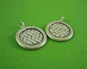 Hill Tribe Silver Weaved Coin Charm 18mm Small Round Charm Jewelry Supply