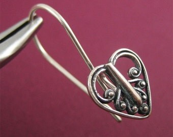Oxidized Sterling Silver Earwires with Heart Front