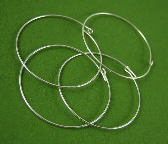 6 pcs - 30mm Sterling Silver Beading Hoops
